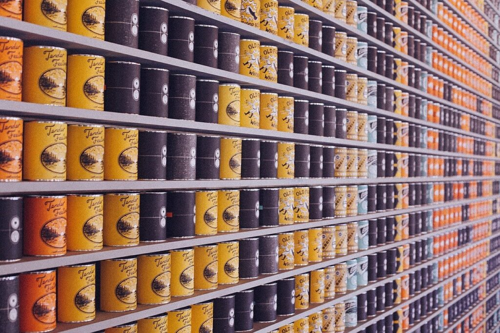 canned food, cans, supermarket